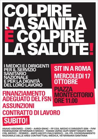 Manifestazione  medici  roma  montecitorio  ssn  sanità