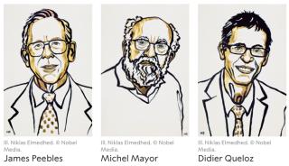 Nobel  fisica  karolinska  mayor  queloz  peebles  svizzera  premio  riconoscimento  cosmologia