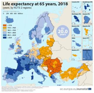 Longevità  europa  eurostat  cartina  dati  italia  svizzera  spagna  madrid  regioni  ticino